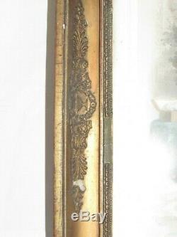 03f23 Ancien Cadre Bois Et Stuc Dore Feuille Epoque Empire Fleurettes Palmettes