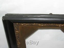 08f18 Superbe Ancien Cadre Noir Bois Stuc Dore Art Déco Pour Portrait / Miroir