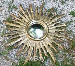 1950's Witch's Mirror Miroir de Sorcière Design Cadre Soleil Bois Sculpté Wooden