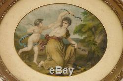 2 Aquatintes anciennes Diane surprise par l'amour cadres bois doré
