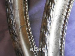 2 cadres médaillons ovales fin XIXème en bois & stuc doré