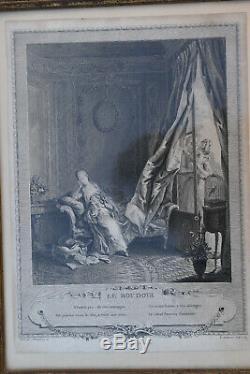 ANCIEN CADRE LOUIS XVI EN bois stuqué doré XVIII/XIX ème avec gravure LE BOUDOIR