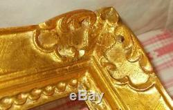 ANCIEN CADRE MONTPARNASSE BOIS SCULPTÉ MAIN DORÉ A LA FEUILLE POUR 40,6x50,5 cm