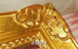 ANCIEN CADRE MONTPARNASSE BOIS SCULPTÉ MAINS DORÉ A LA FEUILLE POUR 40,6x50,5 cm