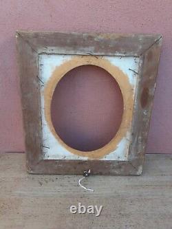 ANCIEN CADRE en bois doré a vue ovale