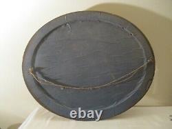 ANCIEN GRAND CADRE BOIS OVALE PHOTO SOUS VERRE TABLEAU DE FAMILLE 58x48