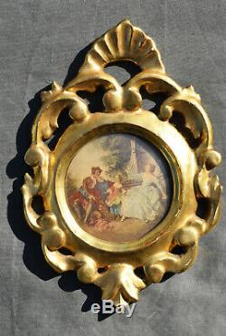 ANCIEN PAIRE DE CADRES AJOURE LOUIS XV EN bois stuqué doré