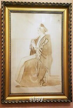 ANCIEN TABLEAU l'ARLESIENNE par LEO LELEE Beau CADRE BOIS DORE 38,5 x 54 cm