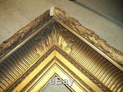 Ancien Cadre Bois Stuc Dore Palmette Cle Feuillure 41 X 28 Frame Antique