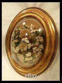 Ancien Cadre Doré Couronne De Mariée Bouquet Globe Verre Bombé Ep Napoléon III
