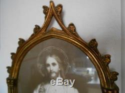 Ancien Cadre En Bois Sculpte Et Dore Style Gothique Christ Icone Religieux