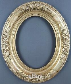 Ancien Cadre Ovale Louis XIV Format 18 cm x 14 cm Doré Antique Frame Cornice