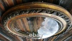 Ancien Cadre Ovale Verre Bombé Vide Bois et Stuc Doré d'Origine