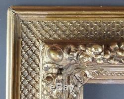 Ancien Cadre XIXe Format 31 cm x 16 cm Doré Antique Frame Gilt Cornice Rahmen