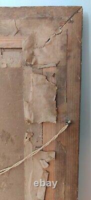 Ancien Cadre empire portrait photographique bois et stuc doré 63cm/54cm