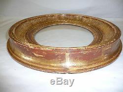 Ancien Cadre ovale en bois doré Epoque XIX Style Louis XVI + Verre