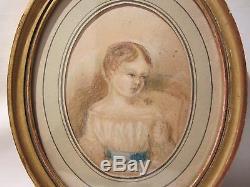 Ancien Dessin Pastel Portait Jeune Fille Enfant Cadre Oval En Bois Dore