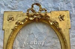 Ancien Grand CADRE ENCADREMENT XIXèm Style LOUIS XVI en BOIS SCULPTÉ & STUC DORÉ