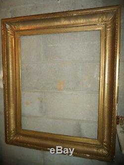 Ancien Grand Cadre Bois Stuc Dore Palmettes Feuillure De 74,5 X 60 Frame
