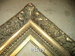 Ancien Grand Cadre Bois Stuc Dore Rocaille Perles Feuillure De 66 X 55,5 Frame