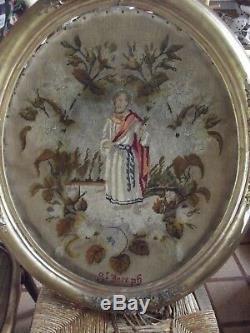 Ancien Grand Cadre Ovale XIX Doré ecclésiastique ésotérisme Religion st Joseph