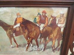 Ancien Grand Cadre champ de course art nouveau Doré Bois course hippyque jockey