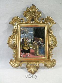 Ancien Tableau Fixe Sous Verre Annonciation Ange Gabriel Marie Cadre Bois Dore