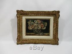 Ancien Tableau Peinture Huile Bouquet De Fleurs Tournaire C Cadre Bois Dore