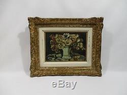 Ancien Tableau Peinture Huile Bouquet Fleurs Tournaire C 1952 Cadre Bois Dore