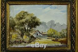 Ancien Tableau Plaque de Porcelaine paysage animé signé cadre bois doré nap 3 N1