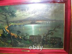 Ancien Tableau Représentant La Baie De Naples La Nuit-cadre En Bois Doré