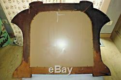 Ancien cadre Pêle mêle miroir Art Nouveau bois laiton doré décor dragon 68x48 c