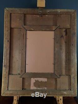 Ancien cadre bois & stuc 18/19° s. Antique Gilded wooden frame 46x38cm R14