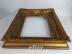 Ancien cadre bois & stuc doré à caisson 40x34 cm feuillure29x23cm Très bel état