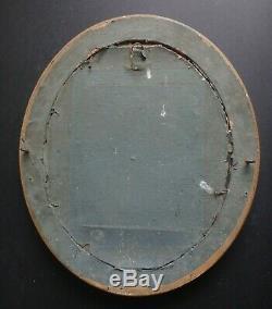 Ancien cadre canaux ovale 34x29cm bois et stuc doré Old frame wooden XIX
