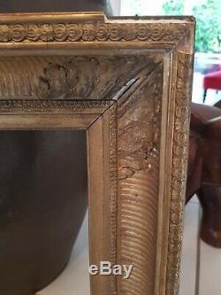 Ancien cadre décor palmette, bois doré époque XIX ème s
