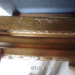 Ancien cadre doré à la feuille pour marine paysage feuillure 34x26.5 cm
