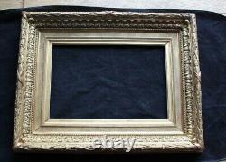 Ancien cadre doré à la feuille pour peinture huile sur toile étiquette d'expo