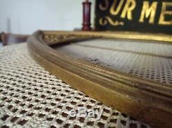 Ancien cadre doré bois et stuc ovale grand