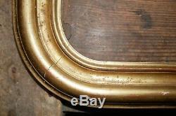 Ancien cadre en bois plâtré doré, angles arrondis, Louis Philippe, 47/36, XIXe