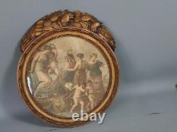Ancien cadre rond style Louis XVI bois sculpté doré 30x26,5 feuillure 23 cm SB