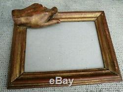 Ancien cadre sculpture main en relief bois doré frame hand monogramme M. H82