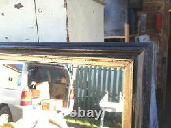 Ancien grand miroir Napoléon 3 vintage cadre en bois noir et doré vintage