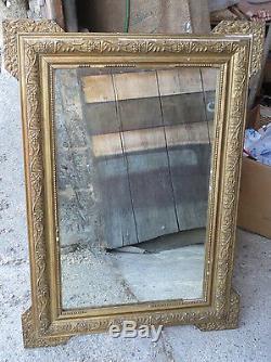 Ancien miroir cadre bois et platre doré vintage french antique mirror