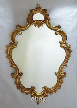 Ancien miroir cadre peint à la feuille d'or style baroque
