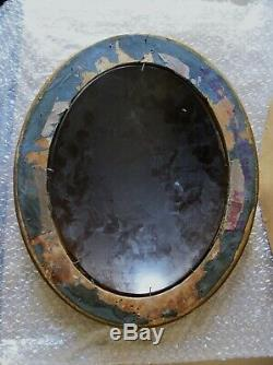 Ancien miroir de sorcière ovale, cadre en bois doré, bon état