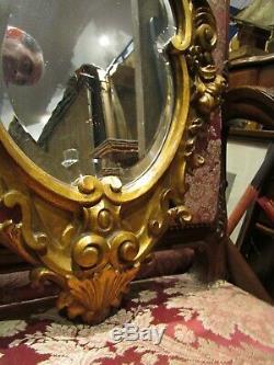 Ancien petit miroir glace cadre bois doré st regence epok 1960 angelot