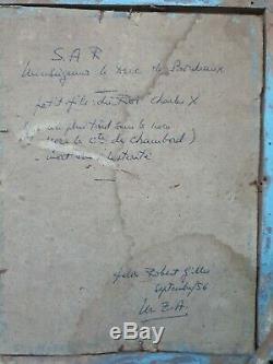 Ancienne Gravure rehaussée, Duc de Bordeaux, cadre Empire bois doré XIX ème s