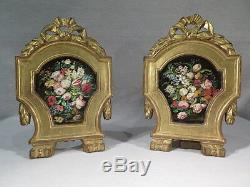 Ancienne Paire De Cadres En Bois Sculpte Et Dore Toile Peinte Bouquet De Fleurs