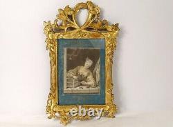 Aquarelle oiseau cage femme élégante cadre bois sculpté doré XVIIIè siècle